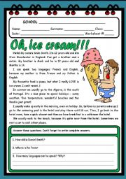 English Worksheet: OH, ICE CREAM...! ( 2 PAGES )
