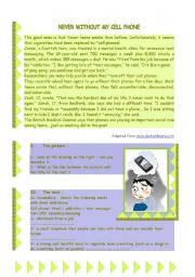 English Worksheets: Never without my cell phone : a reading comprehension