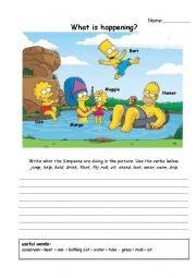 English worksheet: describe the simpsons using present continuous