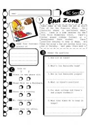 English Worksheets: RC Series 13 - End Zone (Fully Editable + Answer Key)