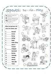 English Worksheets: Sports (do, go, play) + Answer key