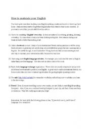 English Worksheets: How to maintain your English