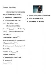 English Worksheets: Naturally by Selena Gomez