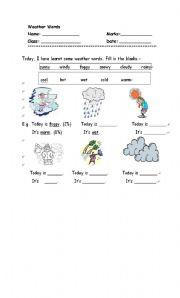 English worksheet: Weather words