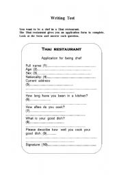English Worksheets: Application for being  a chef
