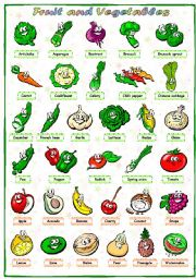 English Worksheet: Fruit and vegetables (1 of 3): Pictionary