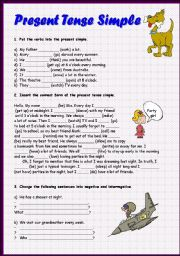 English Worksheet: Present Tense Simple, 2 pages