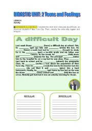 English Worksheets: A difficult day