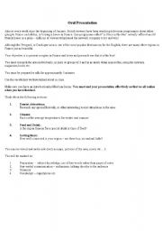 English Worksheet: Oral Presentation - Presenting a Region