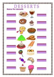 worksheet name the desserts