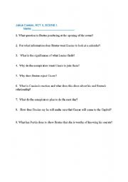 English worksheets: Julius Caesar Act II questions
