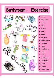 English Worksheet: Bathroom - House