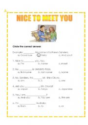 English Worksheets: Nice to meet  you