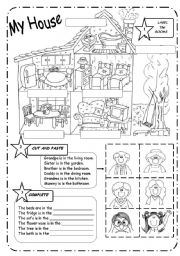 English Worksheet: HOUSE and FAMILY - B&W