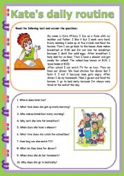 English Worksheets: Kate�s daily routine 3 pages