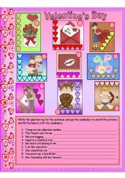 English Worksheets: san valentine vocabulary with question tag