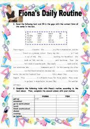 English Worksheet: Fiona�s Daily Routine - 2 pages