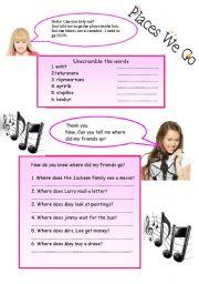 English worksheet: Places We Go