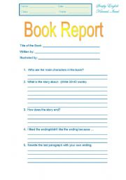 Character Book Report will help kids become even more familiar with ...