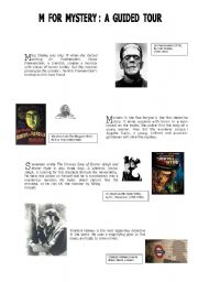 English Worksheet: M  for  Mystery : a guided tour  ( part 1 )