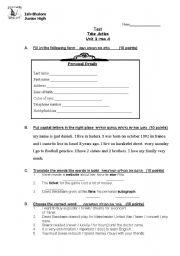English Worksheets: test unit 1