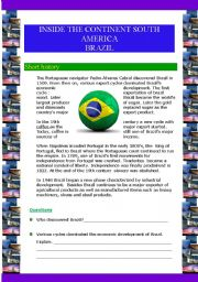 English Worksheet: Inside the continent South  America - Brazil (5 pages)