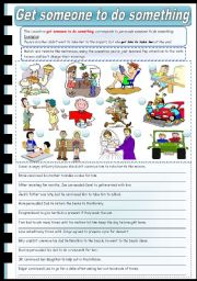 English Worksheet: Causatives: Get someone to do something (fully editable)