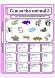 English Worksheets: Guess the animal 3