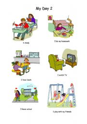 English Worksheets: My day ( Part 2 of 3)