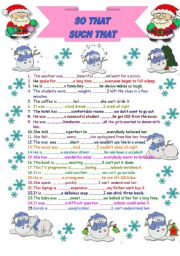 English Worksheet: so that-such that