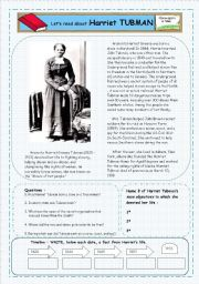 English Worksheets: Reader: Short Biography on Harriet Tubman