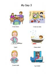 English Worksheets: My day (Part 3 of 3)