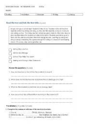 English Worksheet: FIRST TEST FOR II ADULTS