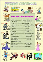 English Worksheet: present continous tense