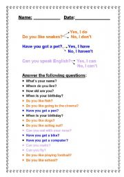 English Worksheets: Questions and answers about oneself
