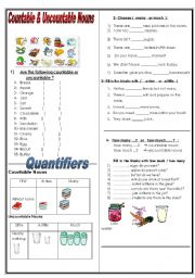 English Worksheet: countable  / uncountable nouns + many -much- ( a )few -( a )little
