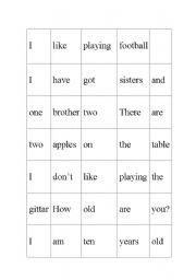 English Worksheets: Building sentences
