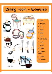 English worksheets Dining room House