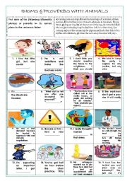 English Worksheet: IDIOMS AND PROVERBS WITH ANIMALS (+ KEY)