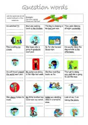 English Worksheets: Question words-asking questions