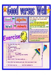English Worksheets: Good versus Well
