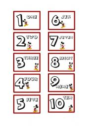 English Worksheet: Mickey Mouse Numbers