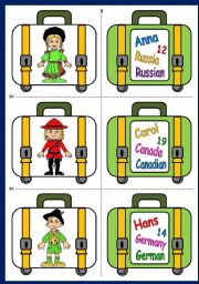 English Worksheet: COUNTRIES AND NATIONALITIES SPEAKING CARDS