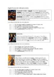 English Worksheet: English grammar test with movie reviews