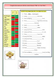 English Worksheet: Likes and dislikes in food