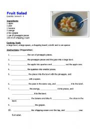 English Worksheet: Easy Fruit Salad Recipe