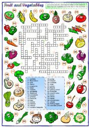English Worksheet:  Fruit and vegetables (3 of 3): Crossword
