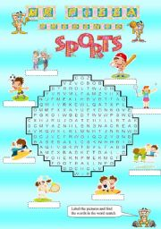 English Worksheet: Mr. Pizza�s Sports word search