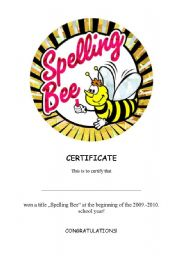 English Worksheet: Cerificate for the Spelling Bee Contest