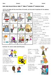 English Worksheets: exam for 6th graders part 1